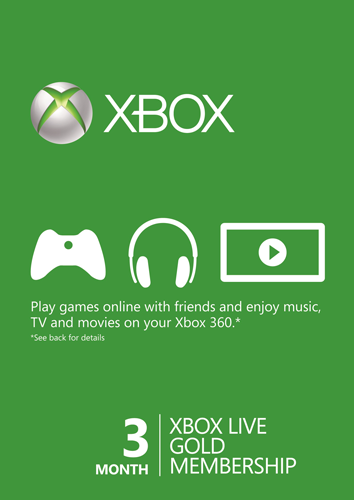 Xbox LIVE Gold 3 Month Membership Card (Xbox 360)