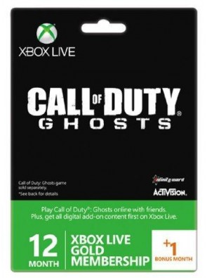 Xbox Live Gold 12-Month Membership Card with 1 Bonus Month - Call of Duty Ghosts Branded Xbox One/360