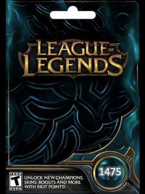 League of Legends: 1475 Riot Points Card